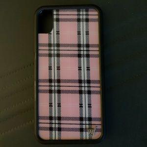 pink plaid wildflower phone case